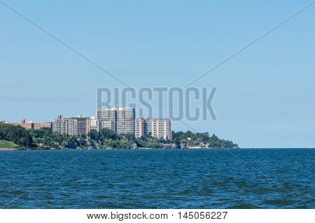 Luxury apartments along the shoreline of Lake Erie in a suburb of Cleveland, Ohio.  This area is known by the locals as the