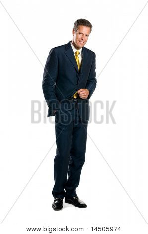 Smiling mature businessman standing full length isolated on white background
