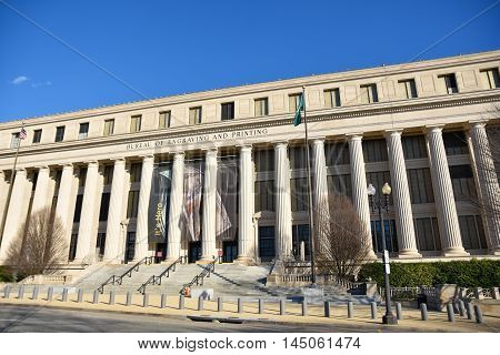 Washington DC - December 19, 2015: Front view of Bureau of Engraving and Printing building.