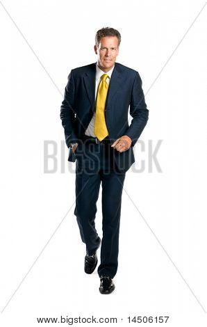 Worried businessman walking with hurry isolated on white background