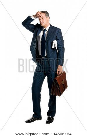 Tired businessman take a little break isolated on white background
