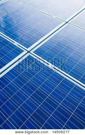 Blue solar panels pattern for sustainable energy
