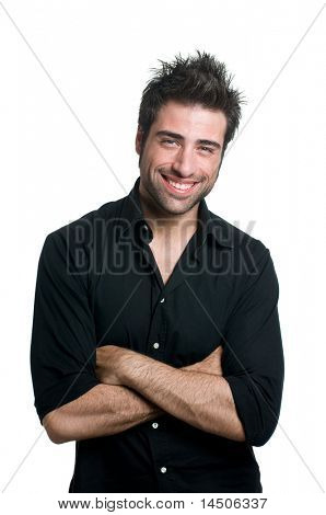 Young latin man smiling and looking at camera isolated on white background