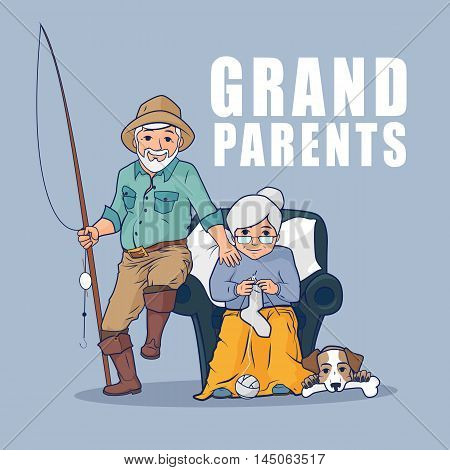 Grandparents sitting together with pet. Happy grandparents day. Grandmother sitting in armchair and knitting socks. Vector flat illustration.