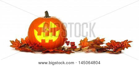 Halloween Jack O Lantern With Autumn Leaf Border Isolated On A White Background