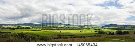 Green Filed Landscape Panorama. Aberdeenshire. Scotland.