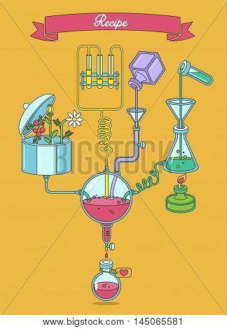Process for manufacturing medicine. Scheme showing the process of making medicine. Pharmaceutical factory