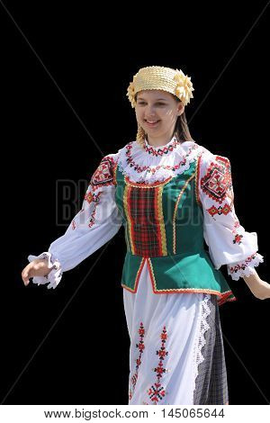Tyumen, Russia - May 26 2012. Festival of national cultures Friendship Bridge. Peoples in Kazakh national dress ready for a concert. In the backyard are the presentation of the national dishes, show rituals are examples of arts and crafts, conduct master
