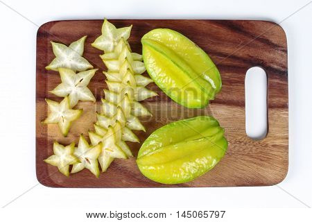 Star apples is fruit for health and delicious on wood,white background.