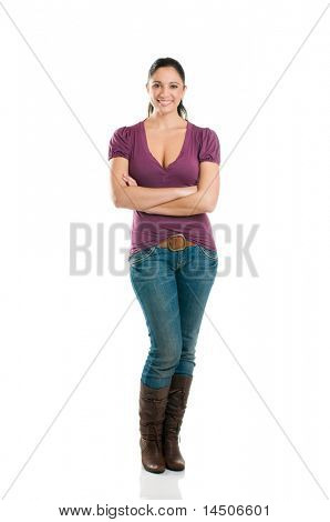 Young attractive woman looking at camera with confidence isolated full length