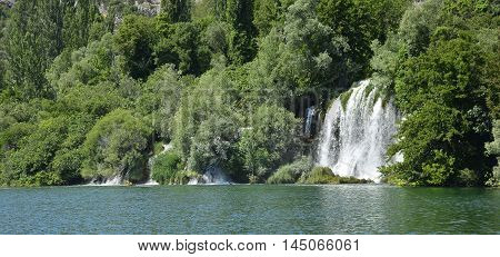 Roski Slap waterfall on the River Krka in Krka National Park Sibenik-Knin County Croatia.