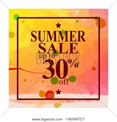 Season summer sale 30 off sign over. Stain brush art paint abstract texture background design acrylic poster. Perfect watercolor design for sale shop and sale banners.