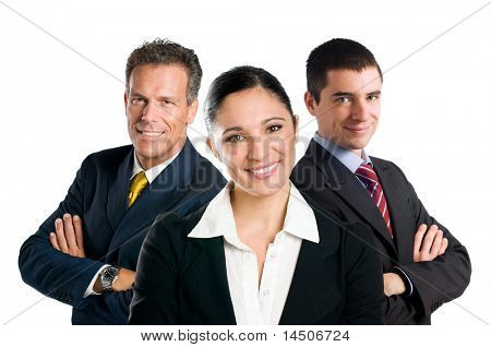 Multi aged happy business team with woman and men isolated on white background