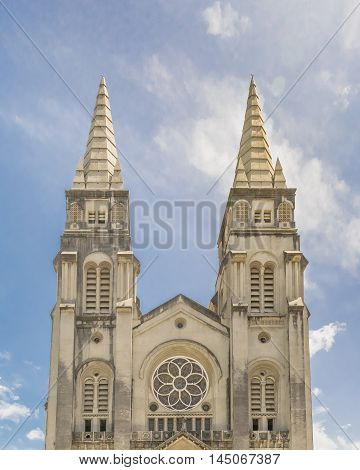 Exterior view of metropolitan cathedral of Fortaleza Brazil poster
