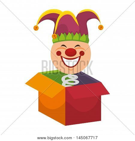 box clown smiling hat toy jump surprise cartoon vector illustration