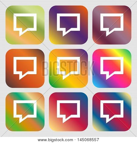 Speech Bubble, Think Cloud Icon. Nine Buttons With Bright Gradients For Beautiful Design. Vector