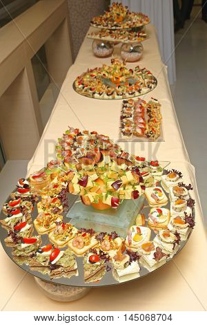 Finger Food Appetizers at Buffet Bar Table