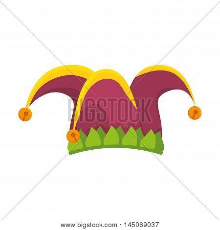 clown jester hat harlequin costume coloful accessory vector illustration