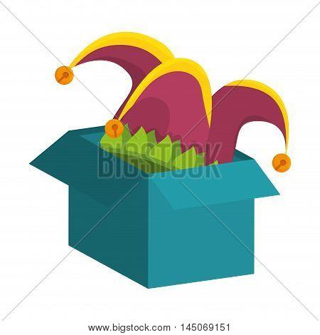 clown jester hat in  box harlequin costume coloful accessory vector illustration