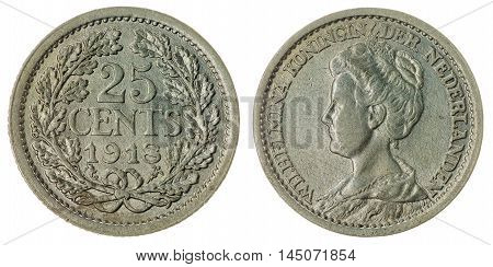 25 Cents 1918 Coin Isolated On White Background, Netherlands
