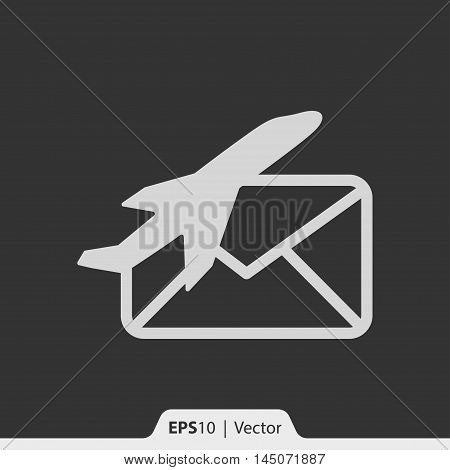 Air Mail Via Plane Vector Icon For Web And Mobile