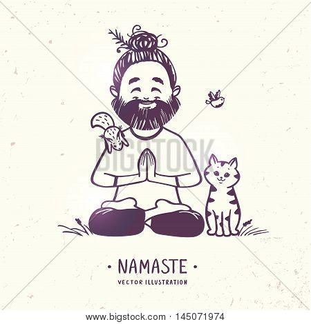 Character positive man with cute cat, squirrel and bird in greeting pose namaste. Vector illustration. Practicing Yoga