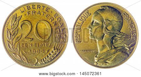 20 Centimes 1988 Coin Isolated On White Background, France