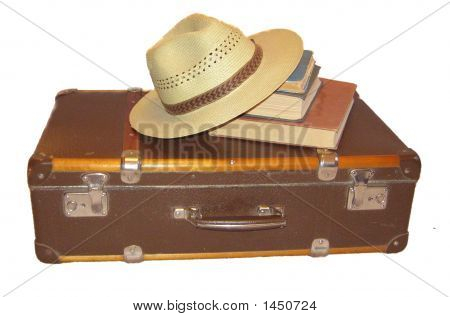 Suitcase, Hat And Books