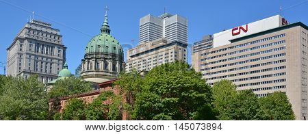 MONTREAL QUEBEC CANADA AUGUST 30 2016: Downtown Montreal CN, Sunlife and Place ville Marie Buildings, Cathedral-Basilica of Mary, Queen of the World