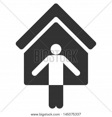House Owner Wellcome icon. Glyph style is flat iconic symbol, gray color, white background.