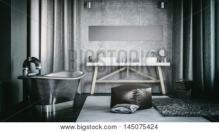 Modern Architectural Spacious Home Bathroom Interior Design with Steel Bathtub. 3d Rendering.