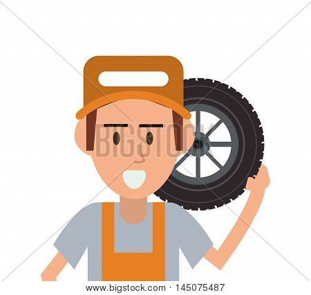 repairman wheel hat builder constructer worker proffesional icon. Flat and isolated design. Vector illustration