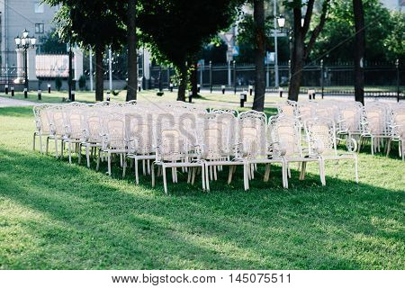 Vintage empty chairs on the lawn in the garden