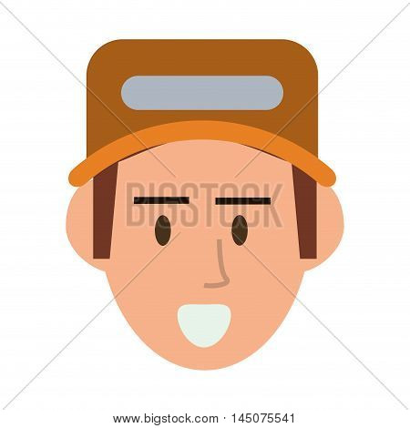 repairman hat builder constructer worker proffesional icon. Flat and isolated design. Vector illustration