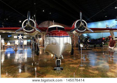Kalamazoo, MI, USA - June 23, 2016: Grumman G-73 on display at the Air Zoo Museum in Kalamazoo, Michigan