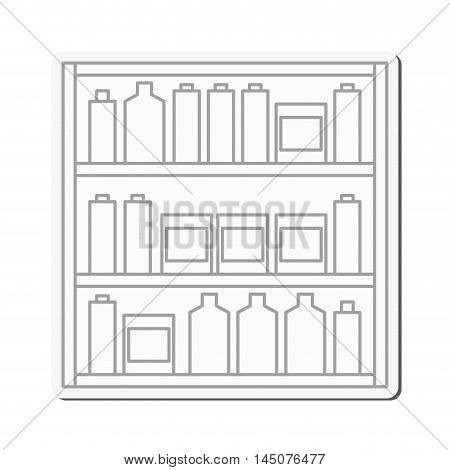 Shelf stand furniture jar box shop market store icon. Flat and isolated design. Vector illustration