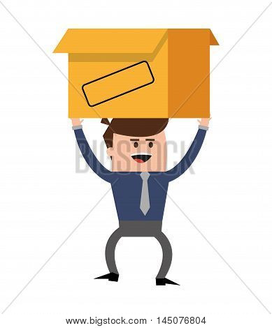 businessman box man male cartoon worker proffesional icon. Flat and isolated design. Vector illustration