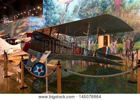 Kalamazoo, MI, USA - June 23, 2016: S.P.A.D. WWI Fighter on display at the Air Zoo Museum in Kalamazoo, Michigan