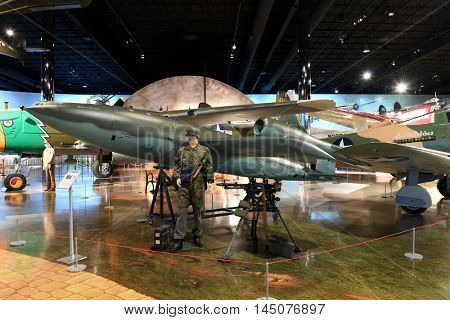 Kalamazoo, MI, USA - June 23, 2016: V-1 Flying Bomb on display at the Air Zoo Museum in Kalamazoo, Michigan