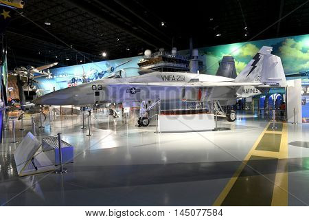 Kalamazoo, MI, USA - June 23, 2016: McDonnell Douglas F/A-18 Hornet on display at the Air Zoo Museum in Kalamazoo, Michigan