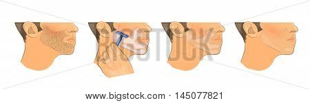 illustration of male face before and after shaving balm and shaving foam