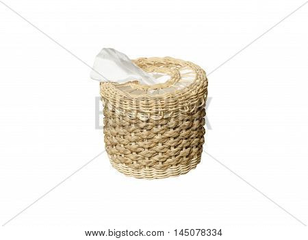Tissue Box isolate on white background wickerwork