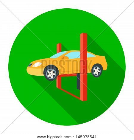 Repairing a car lifted on auto hoist icon flat. Single car repair symbol.