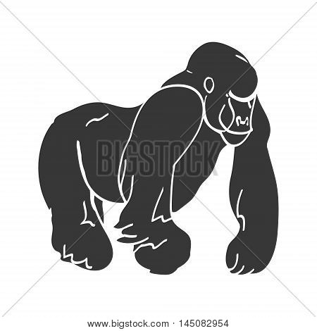 Black silhouette of a big monkey gorilla abstract