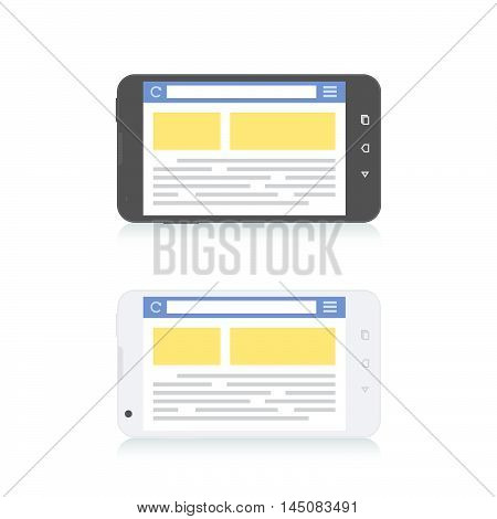 Mobile Phone Internet Browser Horizontal Template