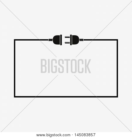 Wire plug and socket - vector illustration. Concept connection connection disconnection electricity. Plug socket and cord in flat design.