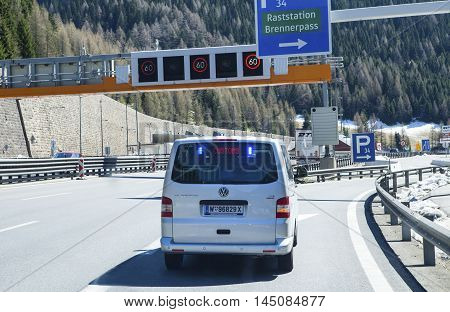 BRENNER PASS, AUSTRIA - APRIL 20, 2016: A hidden customs car on the Brennero border pass. A car must follow the customs car to a parking place for a customs control.