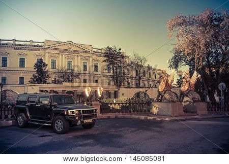 St. Petersburg, Griboyedov Canal Embankment, Russia, August 31, 2016 Hummer H3 on the waterfront in St. Petersburg, the Hmmer X3 is a compact four wheel drive off road and sport utility vehicle