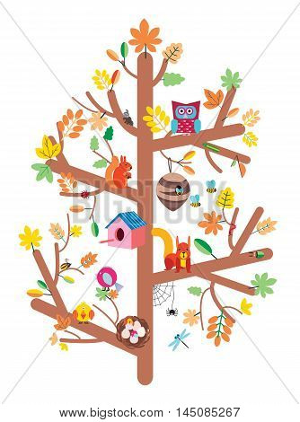 Autumn tree with colorful leaves, birds, animals and nesting boxes, insects flat vector illustration kids design