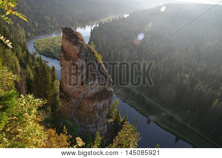 Beautifull view to the river from the top of the rock, Russia, Ural.